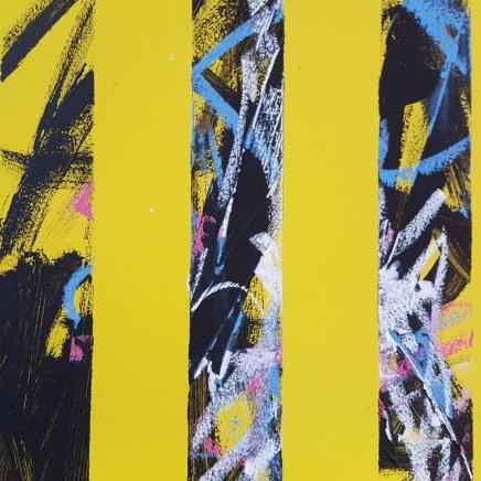 'num num', acrylic, pastel on mdf