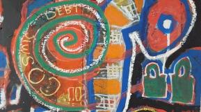 'Bofee' Acrylic, Oil pastel on OSB board